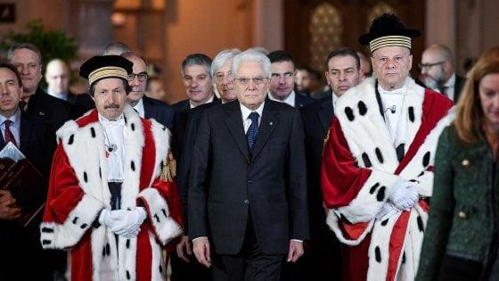 Giovanni Mammone (a destra) con il Procuratore Genrale della Corte di Cassazione, Riccardo Fuzio, e il Presidente della Repubblica Sergio Mattarella all'inaugurazione dell'Anno giudiziario 2019 (lapresse)
